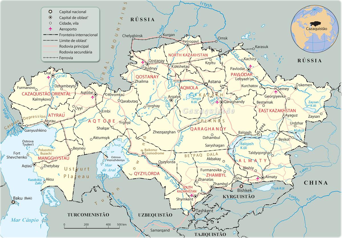 Mapa do Cazaquistão