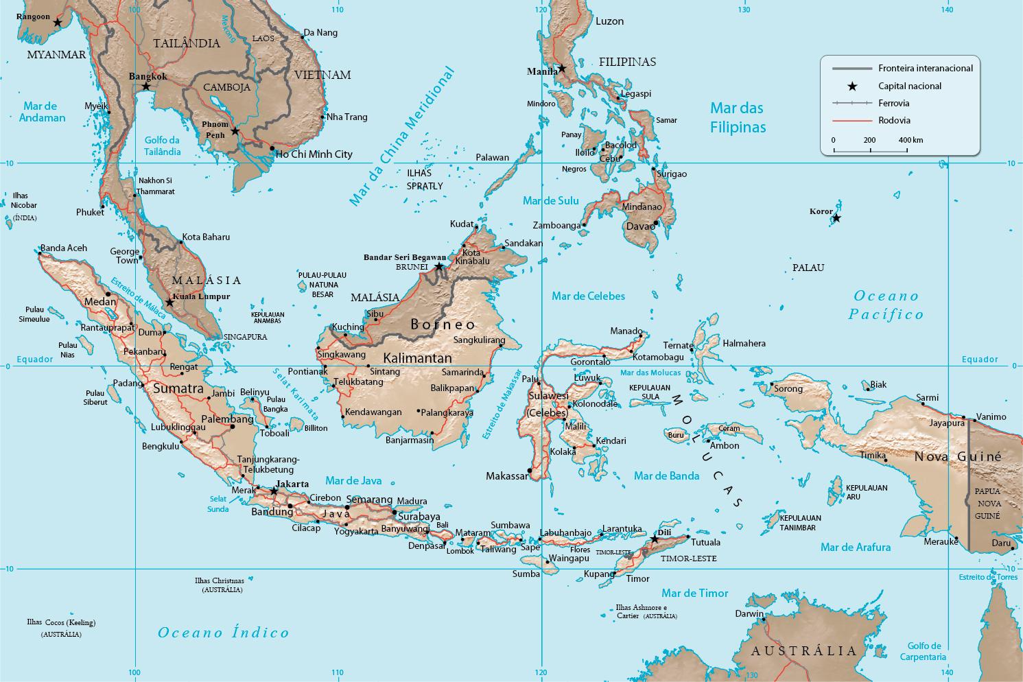 Mapa Em Relevo Da Indon 233 Sia