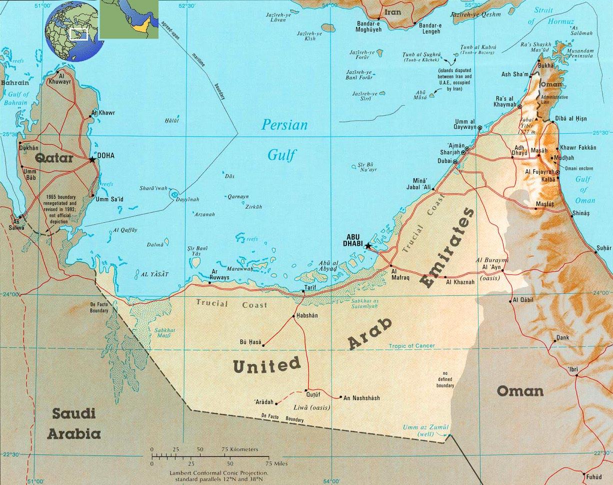 Emirados Árabes Mapa